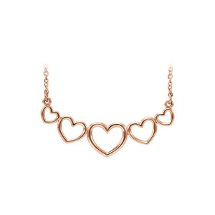 LoveBrightJewelry 14K Rose Gold Graduated Heart Necklace Special Offer