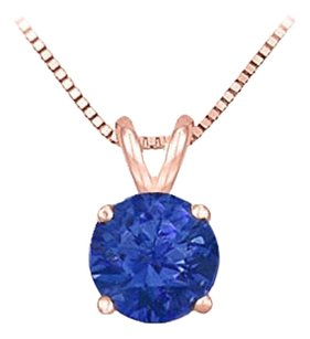 LoveBrightJewelry 14K Rose Gold Prong Set Created Sapphire Solitaire Pendant 0.75 CT TGW
