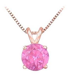 LoveBrightJewelry 14K Rose Gold Prong Set Natural Pink Sapphire Solitaire Pendant 0.50 CT TGW