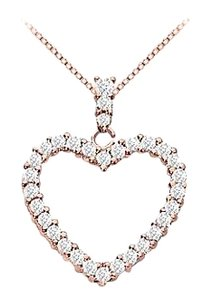LoveBrightJewelry 14K Rose Gold Vermeil Silver Floating Heart Cubic Zirconia Pendant Necklace 0.35 CT CZ
