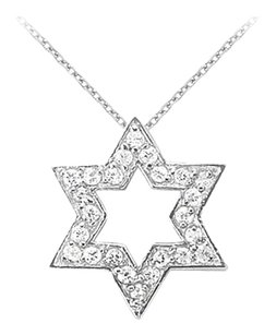 LoveBrightJewelry 14K White Gold Cubic Zirconia Star Pendant Necklace 0.25 CT TGW