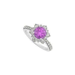 LoveBrightJewelry 14k White Gold February Birthstone Amethyst And Cubic Zirconia Floral Engagement Ring