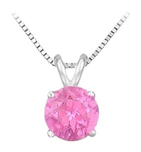 LoveBrightJewelry 14K White Gold Prong Set Created Pink Sapphire Solitaire Pendant 0.50 CT TGW