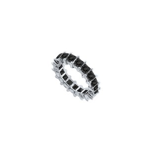 LoveBrightJewelry 14k White Gold Pure Black Natural Onyx Prong Set Eternity Band 3.00 Ct Tgw