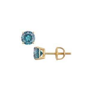 LoveBrightJewelry 14K Yellow Gold Blue Diamond Stud Earrings 2.00 CT TDW