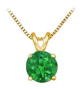 LoveBrightJewelry 14K Yellow Gold Prong Set Created Emerald Solitaire Pendant 0.50 CT TGW