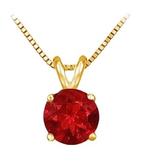 LoveBrightJewelry 14K Yellow Gold Prong Set Created Ruby Solitaire Pendant 1.00 CT TGW
