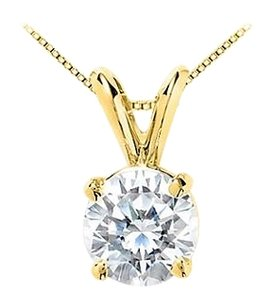 LoveBrightJewelry 14K Yellow Gold Round Cut Cubic Zirconia Solitaire Pendant with 7 Carat Triple AAA Quality