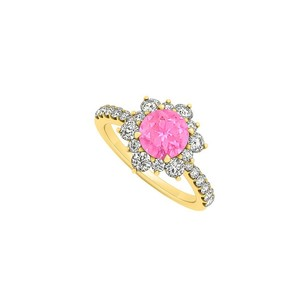 LoveBrightJewelry 14k Yellow Gold September Birthstone Pink Sapphire And Cubic Zirconia Floral Engagement Ring