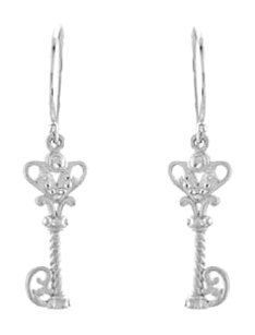 LoveBrightJewelry 925 Sterling Silver Vintage Inspired Key Design Dangle Earrings