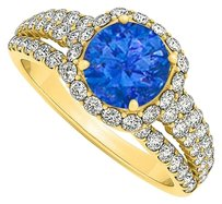 LoveBrightJewelry 1.75 Carat Sapphire and Cubic Zirconia Split Shank 18K Yellow Gold Vermeil Engagement Ring