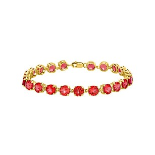 LoveBrightJewelry 18K Yellow Gold Vermeil Prong Set Round Ruby Bracelet 12 CT TGW