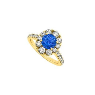 LoveBrightJewelry 2 Carat Round Sapphire And Cubic Zirconia 18k Yellow Gold Vermeil Engagement Ring