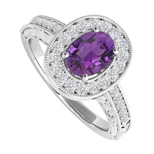 LoveBrightJewelry 2 Ct Oval Amethyst And Cubic Zirconia Engagement Ring