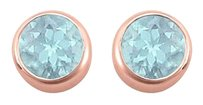 LoveBrightJewelry 2.00 carat Blue TopazDecember Birthstone Bezel Stud Earrings in 14K Rose Gold Vermeil