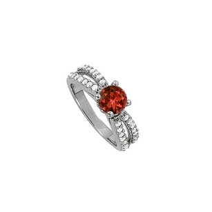 LoveBrightJewelry Round Garnet And Cubic Zirconia Split Shank Engagement Ring