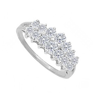 LoveBrightJewelry Cluster Total Weight Engagement Ring In 14k White Gold