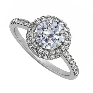 LoveBrightJewelry Cubic Zirconia Double Halo Engagement Ring In 925 Sterling Silver