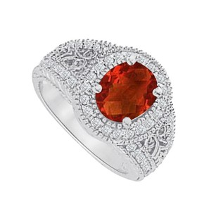 LoveBrightJewelry Garnet And Cz Filigree Engagement Ring 2.00 Ct Tgw