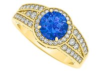 LoveBrightJewelry Sapphire And Cubic Zirconia Split Wide Shank Ring In 18k Yellow Gold