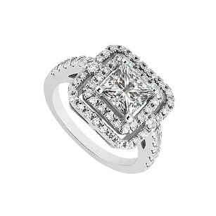 LoveBrightJewelry 1.5 Ct Cz Halo Engagement Rings In 925 Sterling Silver