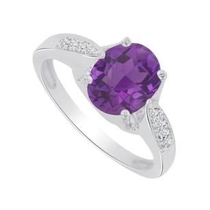 LoveBrightJewelry Cool Amethyst And Cz Designer Ring In 14k White Gold