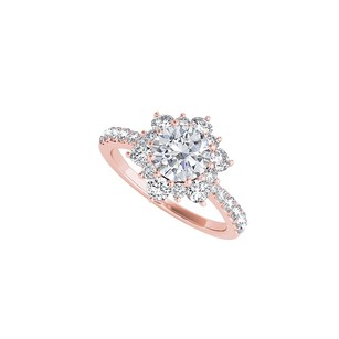 LoveBrightJewelry Cubic Zirconia Flower Shaped Ring In 14k Rose Gold