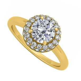 LoveBrightJewelry Cubic Zirconia Halo Engagement Ring 14k Yellow Gold 0.66 Ct Tgw