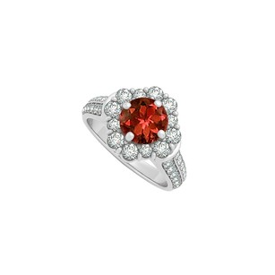 LoveBrightJewelry Garnet And Cz Engagement Ring In 925 Sterling Silver