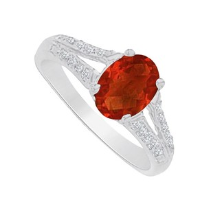 LoveBrightJewelry Garnet And Cz Split Shank Ring In 14k White Gold