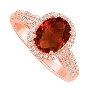 LoveBrightJewelry Halo Ring With Garnet And Cz In Rose Gold Vermeil