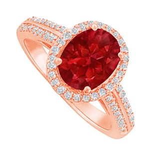 LoveBrightJewelry Halo Ring With Ruby And Cz In 14k Rose Gold Vermeil
