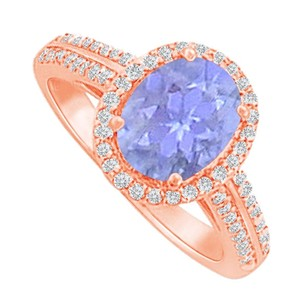 LoveBrightJewelry Halo Ring With Tanzanite And Cz In Rose Gold Vermeil