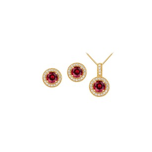 LoveBrightJewelry July Birthstone Ruby With Cz Halo Earrings And Pendant
