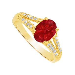 LoveBrightJewelry Lovely Ruby And Cz Split Shank Ring In 14k Yellow Gold