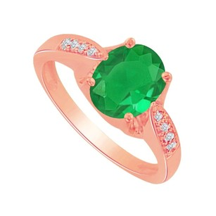 LoveBrightJewelry May Birthstone Emerald And Cz Ring In 14k Rose Gold