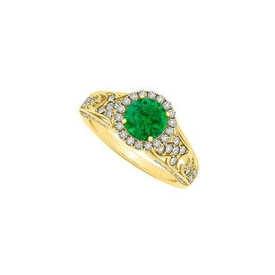 LoveBrightJewelry May Birthstone Emerald With Cz April Birthstone Halo Engagement Ring