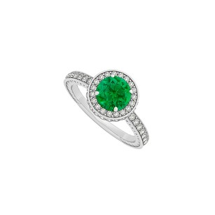 LoveBrightJewelry May Birthstone Round Emerald And Cubic Zirconia Engagement