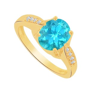 LoveBrightJewelry Oval Blue Topaz And Cz Solitaire Ring 1.5 Ct Tgw