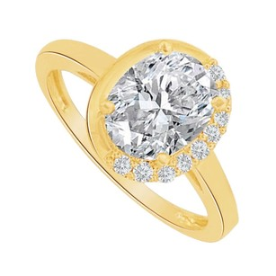 LoveBrightJewelry Oval Cubic Zirconia Engagement Ring In 14k Yellow Gold