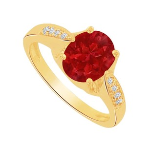 LoveBrightJewelry Oval Ruby And Cz Solitaire Ring In 14k Yellow Gold