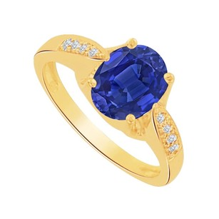 LoveBrightJewelry Oval Sapphire And Cz Solitaire Ring In 14k Yellow Gold