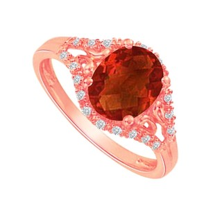 LoveBrightJewelry Perfect Garnet And Cz Split Shank Ring In 14k Rose Gold