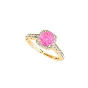 LoveBrightJewelry Pink Sapphire And Cz Halo Ring In 14k Yellow Gold