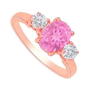 LoveBrightJewelry Pink Sapphire And Cz Three Stones Ring In 14k Rose Gold