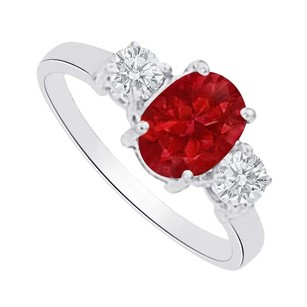 LoveBrightJewelry Pretty Ruby And Cz Three Stones Ring In 14k White Gold
