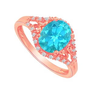 LoveBrightJewelry Rose Gold Split Shank Ring With Blue Topaz And Cz