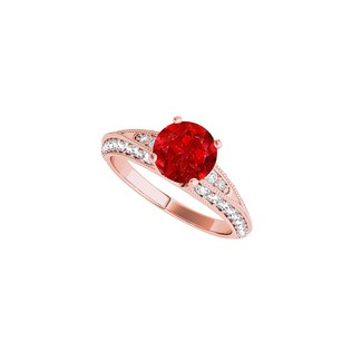 LoveBrightJewelry Round Ruby And Cz Engagement Ring In 14k Rose Gold
