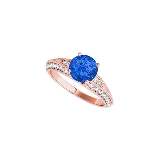 LoveBrightJewelry Round Sapphire Cz Engagement Ring In 14k Rose Gold