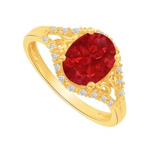 LoveBrightJewelry Ruby And Cz Split Shank Engagement Ring 1.50 Ct Tgw